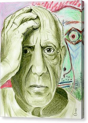 Canvas Print featuring the drawing Pablo Piccaso by Yoshiko Mishina