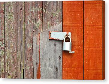 Panel Door Canvas Print - Padlock by Tom Gowanlock