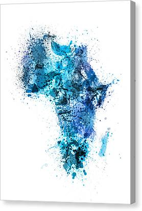 Paint Splashes Map Of Africa Map Canvas Print by Michael Tompsett