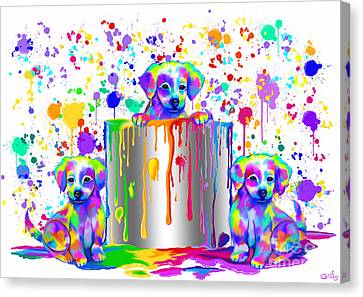 Painted Puppies  Canvas Print by Nick Gustafson