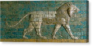 Ceramics Canvas Print - Panel With Striding Lion by Babylonian School