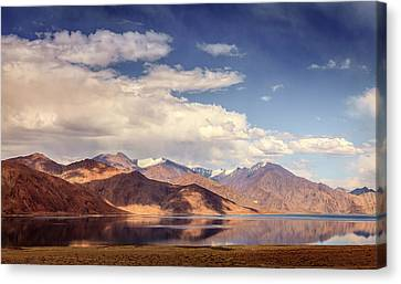 Canvas Print featuring the photograph Pangong Tso Lake by Alexey Stiop