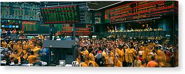 Frenzy Canvas Print - Panoramic View Of Chicago Mercantile by Panoramic Images
