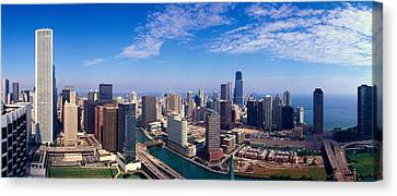 Panoramic View Of Chicago River Canvas Print by Panoramic Images