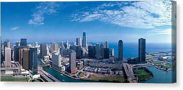 Chicago River Canvas Print - Panoramic View Of Chicago Skyline by Panoramic Images