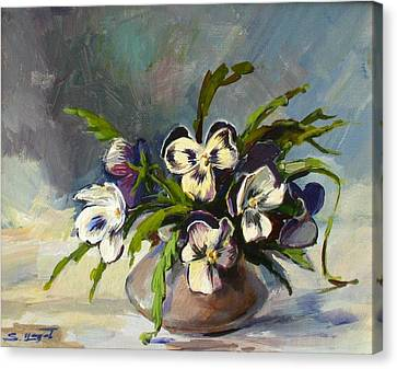 Canvas Print featuring the painting Pansies by Tigran Ghulyan