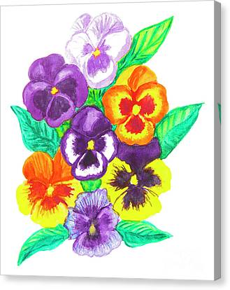 Pansies, Watercolour Painting Canvas Print by Irina Afonskaya