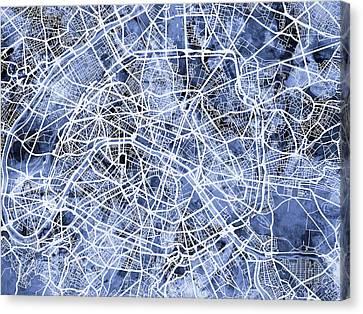Paris France City Street Map Canvas Print by Michael Tompsett