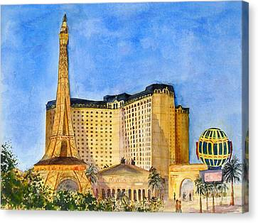 Paris Hotel And Casino Canvas Print by Vicki  Housel