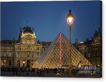 Historic Architecture Canvas Print - Louvre Museum At Twilight by Juli Scalzi