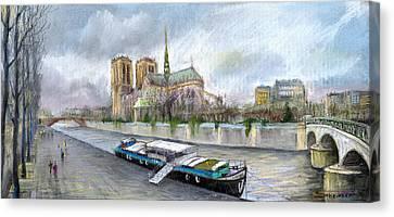 Paris Notre-dame De Paris Canvas Print by Yuriy  Shevchuk