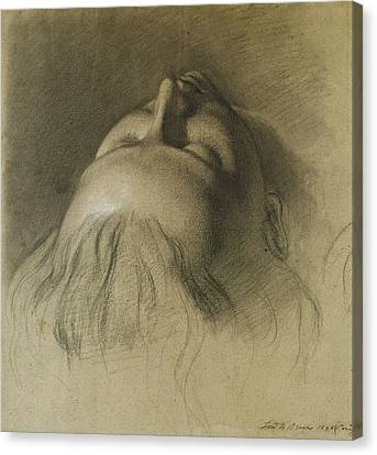 Parisina's Sleep - Study For Head Of Parisina Canvas Print by Ford Madox Brown