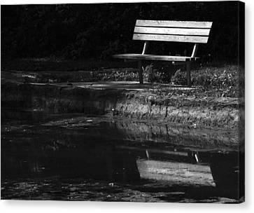 Canvas Print featuring the photograph Park Bench Reflections by Wanda Brandon