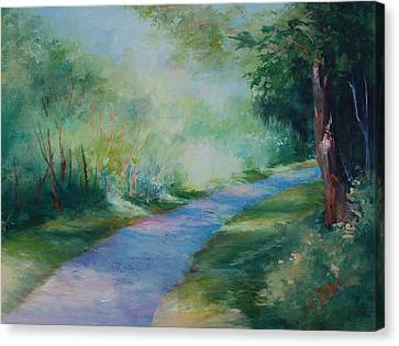 Path To The Pond Canvas Print by Donna Pierce-Clark