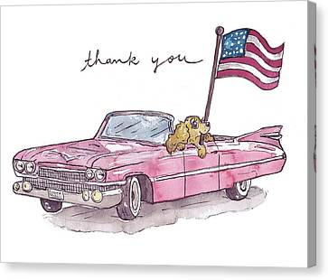 Patriotic Puppy Thank You Card Canvas Print by Katrina Davis