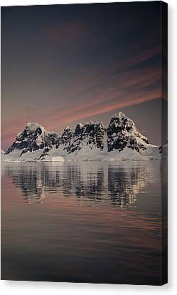 Peaks At Sunset Wiencke Island Canvas Print by Colin Monteath