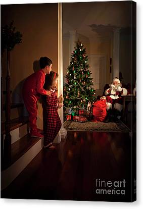 Peeking At Santa Canvas Print by Diane Diederich