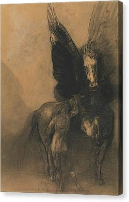 Pegasus And Bellerophon Canvas Print by Odilon Redon