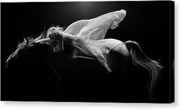 Canvas Print featuring the photograph Pegasus Full Bw by Dario Infini