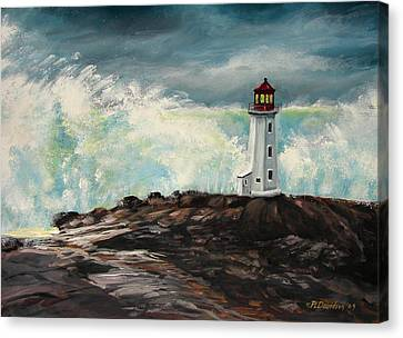 Peggy's Cove Lighthouse Hurricane Canvas Print by Patricia L Davidson