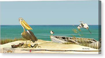Pelican Fishing Canvas Print by Anne Beverley-Stamps