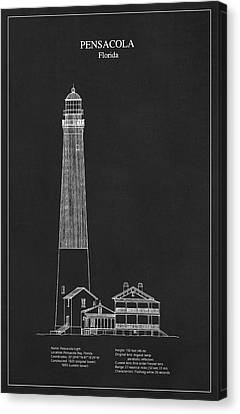 Pensacola Lighthouse - Florida - Blueprint Drawing Canvas Print