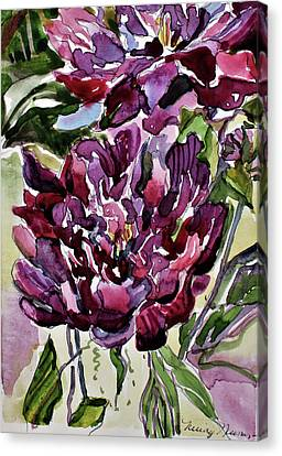 Canvas Print featuring the painting Peonies by Mindy Newman