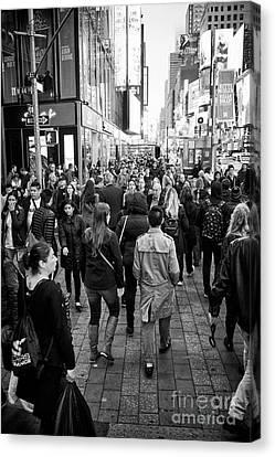 Crosswalk Canvas Print - people crossing crosswalk full busy sidewalk in the evening evening in Times Square New York City US by Joe Fox