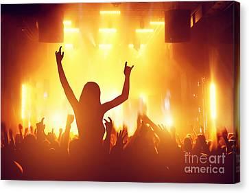 People Having Fun In Night Club Canvas Print by Michal Bednarek