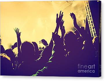 Festival Canvas Print - People With Hands Up In Night Club by Michal Bednarek