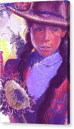 Peruvian Girl With Sunflower Canvas Print