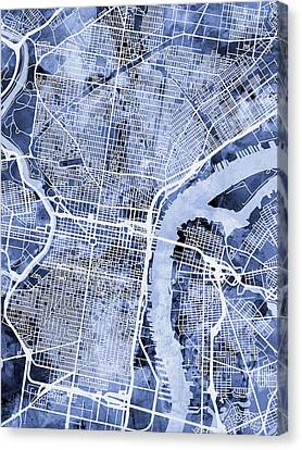 Pennsylvania Canvas Print - Philadelphia Pennsylvania City Street Map by Michael Tompsett