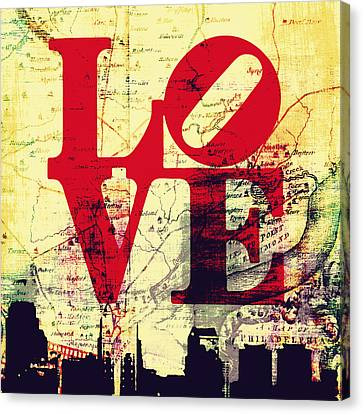 Philly Love V9 Canvas Print by Brandi Fitzgerald