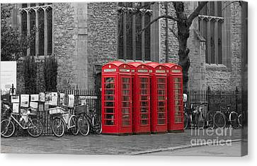 Phonebox In Red Canvas Print by David Warrington