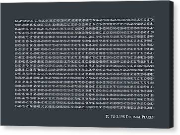 Pi To 2198 Decimal Places Canvas Print by Michael Tompsett