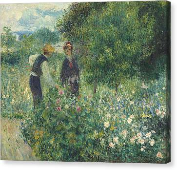 Picker Canvas Print - Picking Flowers by Pierre Auguste Renoir