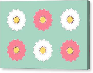 Canvas Print featuring the digital art Pink And White by Elizabeth Lock