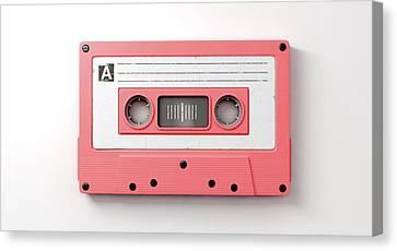 Pink Cassette Mix Tape Canvas Print by Allan Swart
