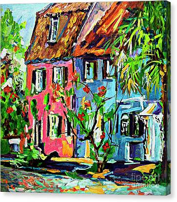 Canvas Print featuring the painting Pink House On Chalmers Street Charleston South Carolina by Ginette Callaway