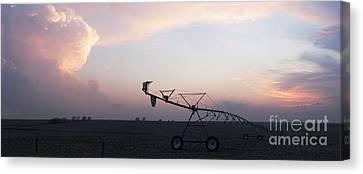 Pivot Irrigation And Sunset Canvas Print