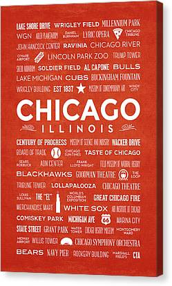 Canvas Print featuring the digital art Places Of Chicago On Orange Chalkboard by Christopher Arndt