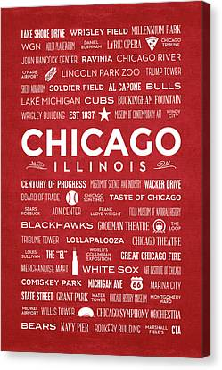 Canvas Print featuring the digital art Places Of Chicago On Red Chalkboard by Christopher Arndt