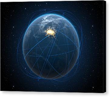 Planet With Illuminated City And Light Trails Canvas Print
