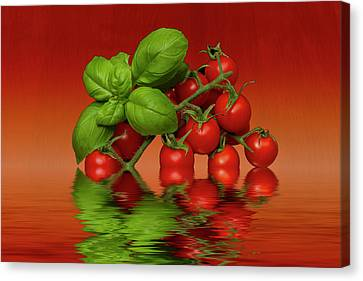 Canvas Print featuring the photograph Plum Cherry Tomatoes Basil by David French