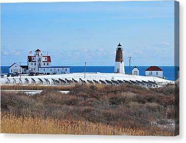 Point Judith Light Canvas Print by Catherine Reusch Daley