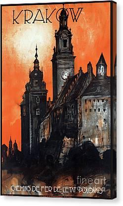 Poland Krakow Vintage Travel Poster Restored Canvas Print by Carsten Reisinger
