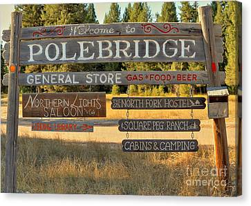 Polebridge Business Directory Canvas Print by Adam Jewell