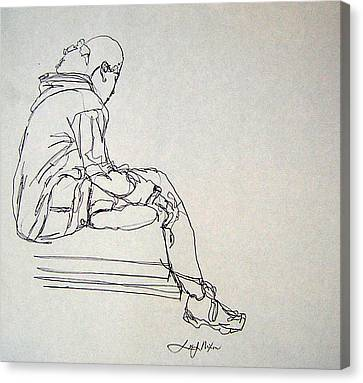 Canvas Print featuring the drawing Pondering by Lee Nixon