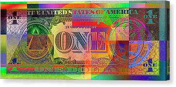 Pop-art Colorized One U. S. Dollar Bill Reverse Canvas Print by Serge Averbukh