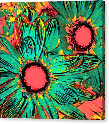 Pop Art Daisies 3 Canvas Print by Amy Vangsgard